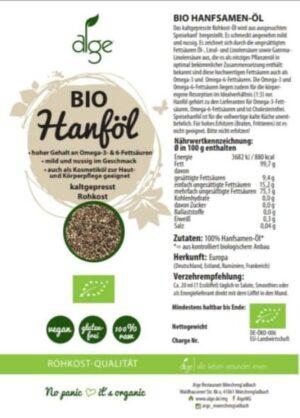 Bio Hanfsamenöl kaltgepresst Nährwerte - Sanaleo CBD