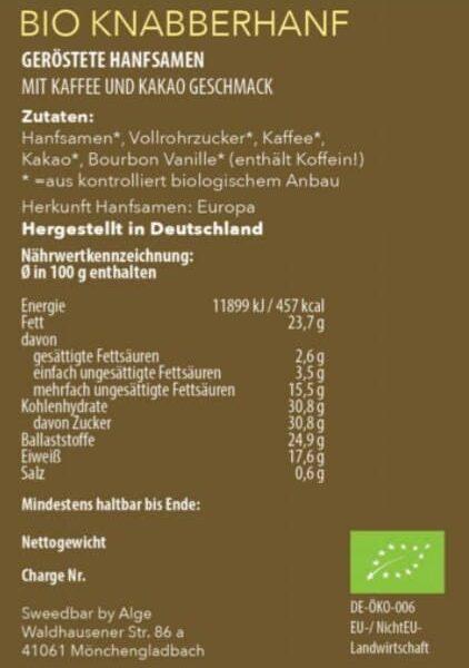 Bio Knabberhanf Cappucino Nährwerte - Sanaleo CBD