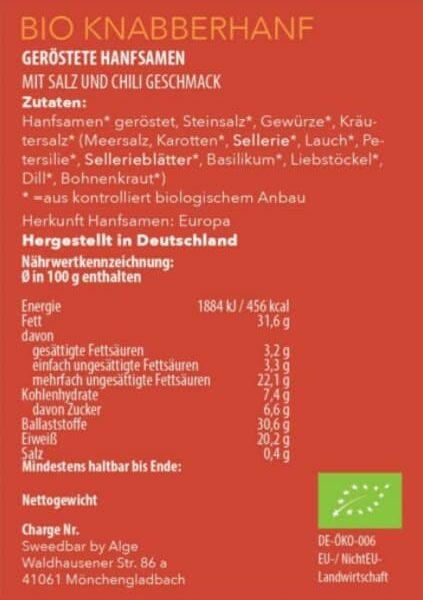 Bio Knabberhanf Chili und Gewürze Nährwerte - Sanaleo CBD