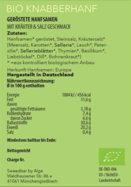 Bio Knabberhanf Kräuter und Salz Nährwerte - Sanaleo CBD