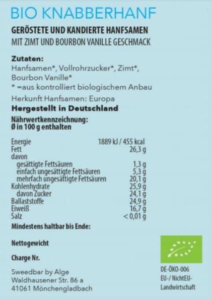 Bio Knabberhanf Vanille und Zimt Nährwerte - Sanaleo CBD