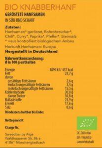 Bio Knabberhanf süß und scharf Nährwerte - Sanaleo CBD